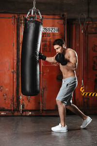Picture of handsome young boxer training in a gym with punchbag. Looking aside.