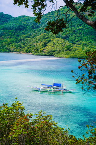 Picturesque sea landscape. Snake Island. Vigan Island. El Nido, Philippines