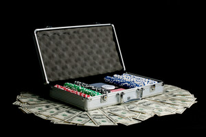 Poker Playing Set and US Dollars