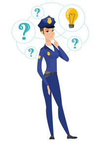 Police woman having brilliant idea in the investigation of a criminal case. Young police woman standing under idea bulb and question marks. Vector flat design illustration isolated on white background