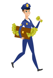 Police woman running with the suitcase full of money after receiving of a bribe. Police woman stealing money. Bribery and crime concept. Vector flat design illustration isolated on white background.
