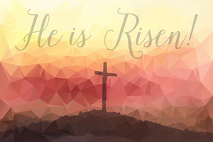 Polygonal vector design. Hand drawn Easter scene with cross. Jesus Christ. Crucifixion. Vector watercolor illustration.