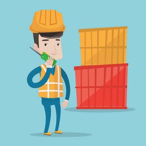 Port worker in hard hat talking on wireless radio. Port worker standing on cargo containers background. Port worker using wireless radio. Vector flat design illustration. Square layout.