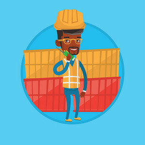 Port worker talking on wireless radio. Port worker standing on cargo containers background. Port worker using wireless radio. Vector flat design illustration in the circle isolated on background.