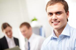 Portrait of a young smiling confident businessman