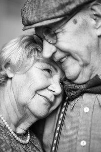 Portrait of affectionate retired couple