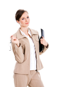 Portrait of attractive business lady holding folder and glasses