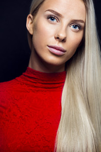 Portrait Of Beautiful Woman With Blond Hair