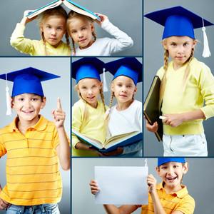 Portrait of cute kids in graduation hats over grey background