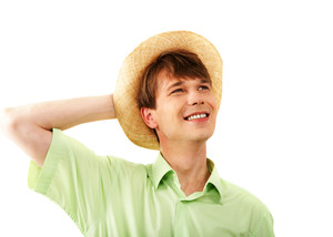 Portrait of happy guy in hat over white background