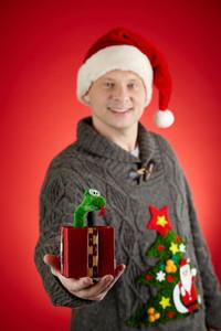 Portrait of happy man in Santa cap showing toy snake in open giftbox