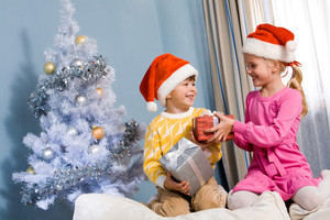 Portrait of happy siblings exchanging Christmas gifts at home