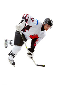 Portrait of hockey player playing in game