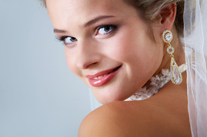 Portrait of pretty bride looking at camera