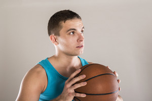 Portrait of sport player isolated on white background