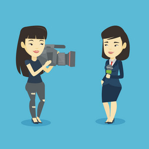 Professional asian female reporter with microphone presenting the news. Female operator filming reporter. Reporter and operator recording the news. Vector flat design illustration. Square layout.
