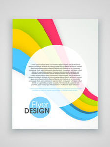 Professional brochure, template or flyer design with colorful waves for professional presentation.