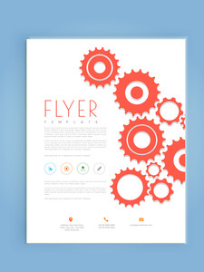 Professional business, flyer, template or brochure design with gear icons.