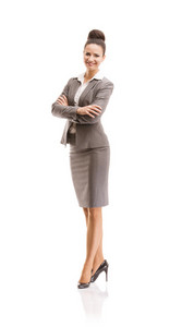 Professional business woman in suit. Full body studio portrait isolated on white background.