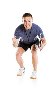 Professional fitness coach isolated on white background