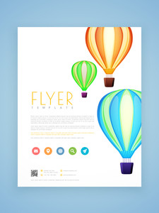 Professional flyer, template or brochure design decorated with beautiful hot air balloons.