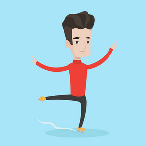 Professional male figure skater performing on ice skating rink. Young ice skater dancing. Caucasian male figure skater posing on skates. Vector flat design illustration. Square layout.