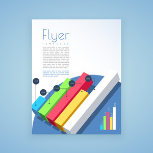Professional Template, Brochure or Flyer design with colorful 3D bar charts for Business.