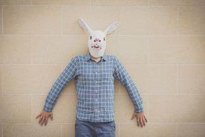 rabbit mask absurd man in the city
