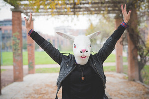 rabbit mask woman at the park outdoor