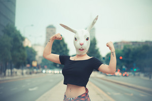 rabbit mask woman in the city