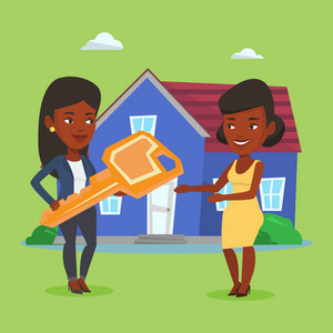 Real estate agent giving key to a new owner of house. African-american real estate agent passing house keys to a new owner. Woman buying a new house. Vector flat design illustration. Square layout