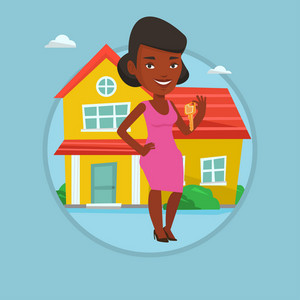 Real estate agent holding key. Real estate agent with key standing on the background of the house. Happy new owner with house key. Vector flat design illustration in the circle isolated on background.