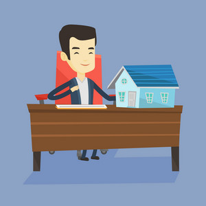 Real estate agent signing contract. Real estate agent sitting at workplace in office with house model on the table. Man signing home purchase contract. Vector flat design illustration. Square layout.
