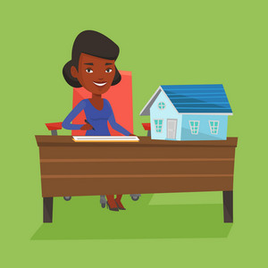 Real estate agent signing contract. Real estate agent sitting at workplace in office with house model on the table. Woman signing home purchase contract. Vector flat design illustration. Square layout