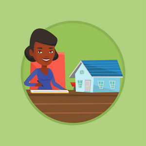 Real estate agent sitting at workplace with house model and signing home purchase contract. Woman signing home purchase contract. Vector flat design illustration in the circle isolated on background.