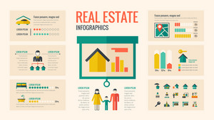 Real Estate Infographic Template. Vector Customizable Elements.