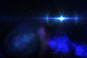 Realistic Space Photo with Shining Star