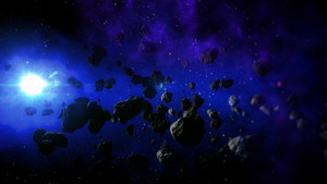 Realistic Space with Cold Sun and Flying Asteroids