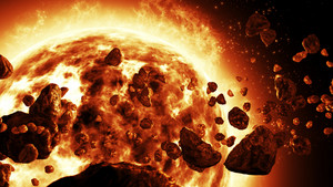 Realistic Sun attacked by Meteorites