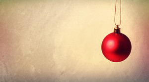 Red Christmas bauble ornament in vintage style