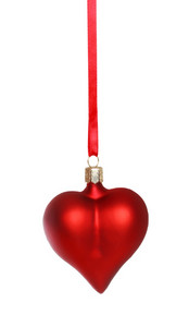 Red heart ornament on white background