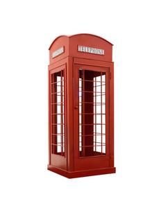 Red telephone box isolated on a white background. This has clipping path.