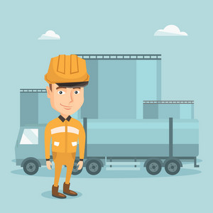 Refinery worker of oil and gas industry. Young worker standing on the background of fuel truck and oil refinery plant. Man working at refinery plant. Vector flat design illustration. Square layout.