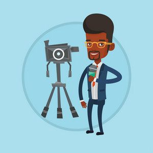 Reporter with microphone standing on a background with camera. TV reporter presenting the news. TV transmission with reporter. Vector flat design illustration in the circle isolated on background.