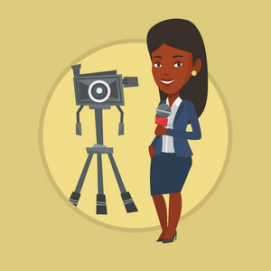 Reporter with microphone standing on the background with camera. TV reporter presenting the news. TV transmission with reporter. Vector flat design illustration in the circle isolated on background.