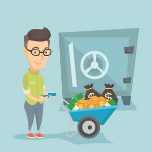 Rich business man depositing his money in bank in the safe. Caucasian business man pushing wheelbarrow full of money on the background of big safe. Vector flat design illustration. Square layout.