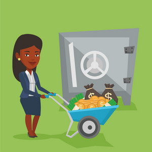 Rich business woman depositing her money in bank in safe. An african-american business woman pushing wheelbarrow full of money on the background of safe. Vector flat design illustration. Square layout