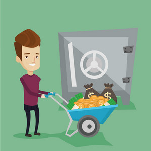Rich smiling businessman depositing his money in bank in the safe. Cheerful businessman pushing wheelbarrow full of money on the background of big safe. Vector flat design illustration. Square layout.