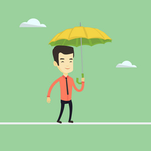 Risky business man walking across a tightrope with umbrella. Risky business man balancing on a tightrope. Concept of risk and challenges in business. Vector flat design illustration. Square layout.