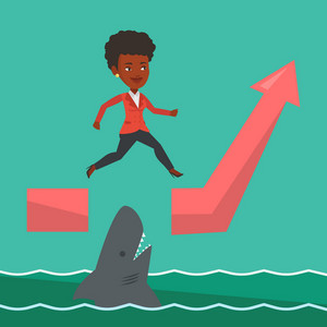 Risky business woman jumping over gap on ascending graph. An african-american risky business woman jumping over ocean with shark. Business risks concept. Vector flat design illustration. Square layout